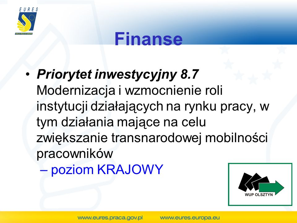Finanse Priorytet inwestycyjny 8.7 Modernizacja i wzmocnienie roli instytucji działających na rynku pracy, w tym działania mające na celu zwiększanie
