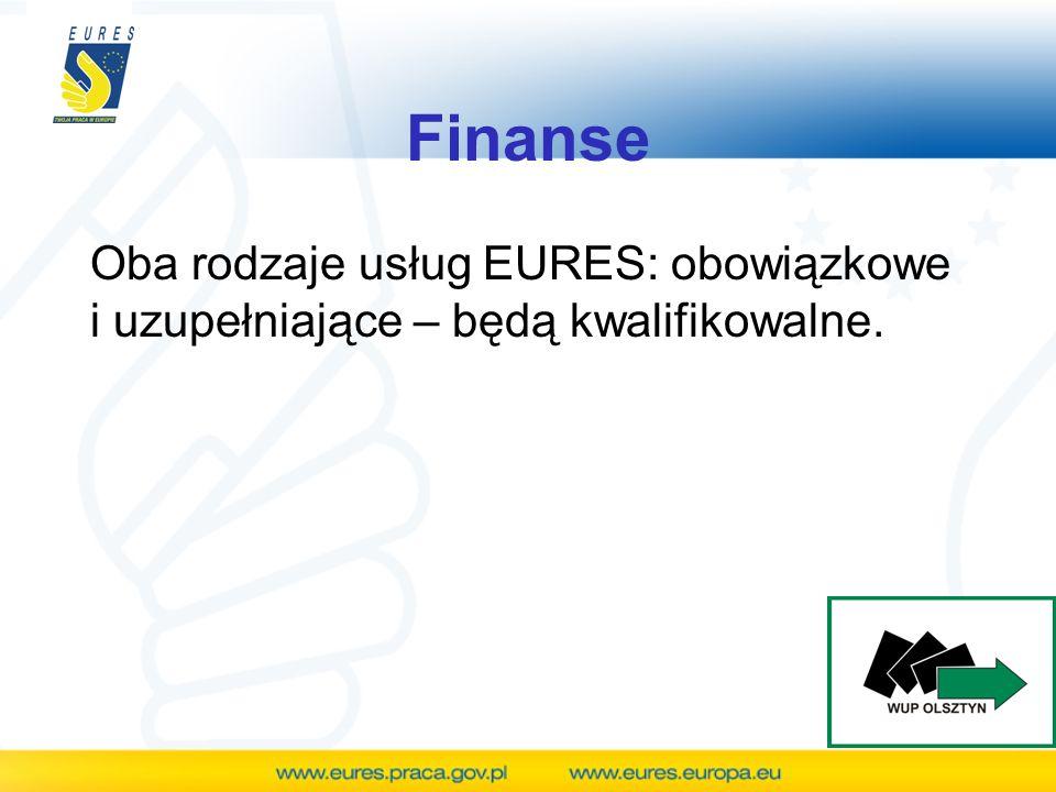Finanse Oba rodzaje usług EURES: obowiązkowe i uzupełniające – będą kwalifikowalne.