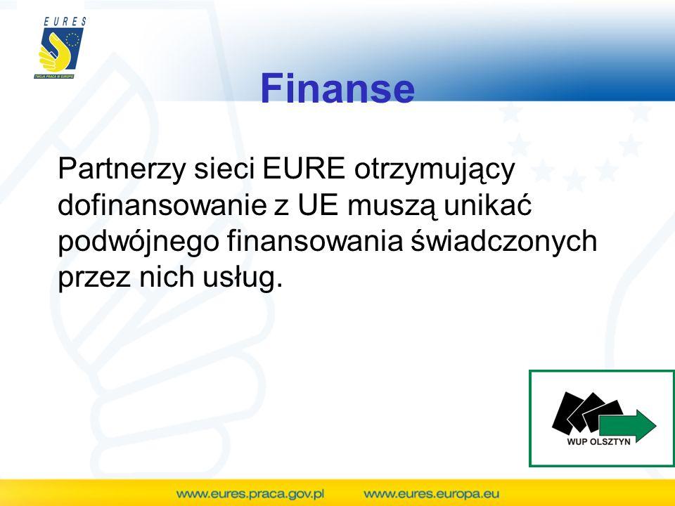 Finanse Partnerzy sieci EURE otrzymujący dofinansowanie z UE muszą unikać podwójnego finansowania świadczonych przez nich usług.