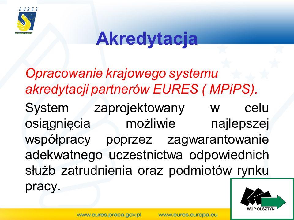 Opracowanie krajowego systemu akredytacji partnerów EURES ( MPiPS). System zaprojektowany w celu osiągnięcia możliwie najlepszej współpracy poprzez za