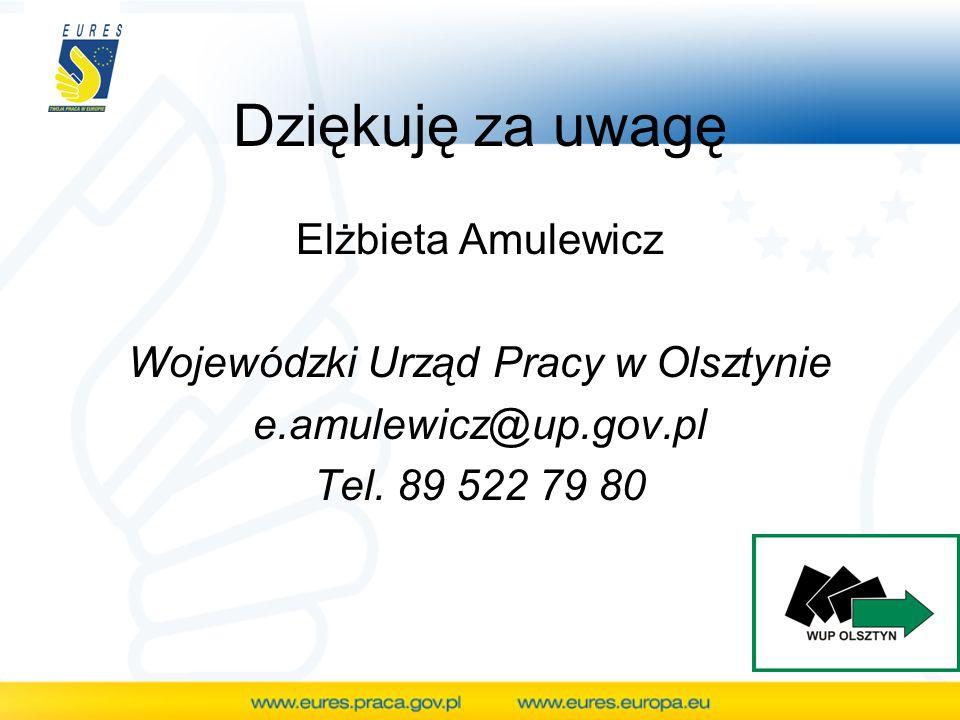 Dziękuję za uwagę Elżbieta Amulewicz Wojewódzki Urząd Pracy w Olsztynie e.amulewicz@up.gov.pl Tel. 89 522 79 80