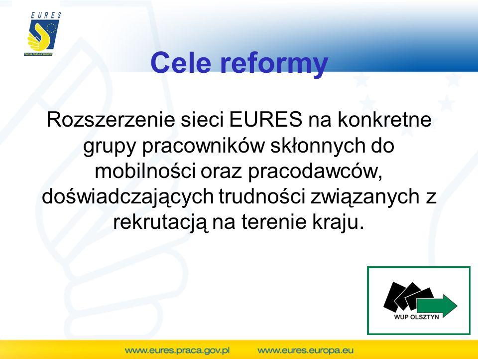 Cele reformy Sieć EURES ma zostać przekształcona w instrument zatrudnienia, koncentrujący się szczególnie na pośrednictwie pracy oraz potrzebach pracodawców.