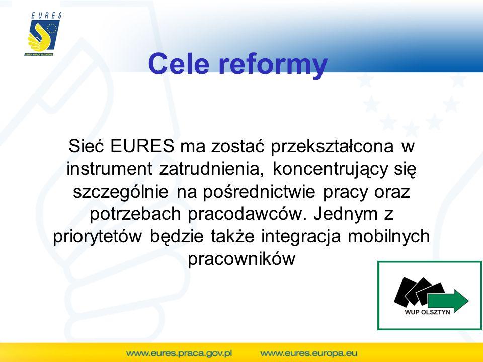 Cele reformy Sieć EURES ma zostać przekształcona w instrument zatrudnienia, koncentrujący się szczególnie na pośrednictwie pracy oraz potrzebach praco