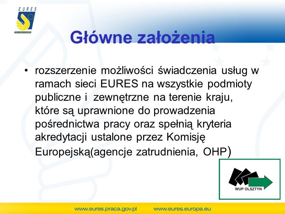 Główne założenia rozszerzenie możliwości świadczenia usług w ramach sieci EURES na wszystkie podmioty publiczne i zewnętrzne na terenie kraju, które s