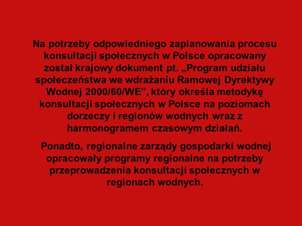 Na potrzeby odpowiedniego zaplanowania procesu konsultacji społecznych w Polsce opracowany został krajowy dokument pt.