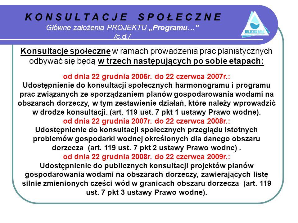 K O N S U L T A C J E S P O Ł E C Z N E Główne założenia PROJEKTU Programu… /c.d./ Konsultacje społeczne w ramach prowadzenia prac planistycznych odbywać się będą w trzech następujących po sobie etapach: od dnia 22 grudnia 2006r.
