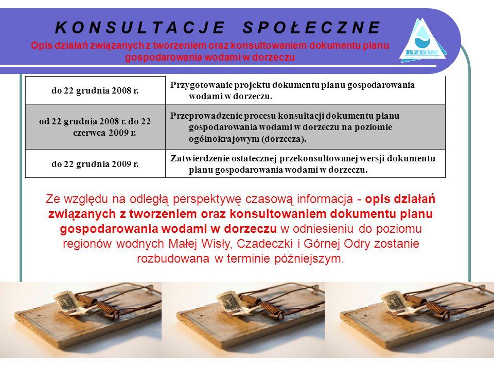 K O N S U L T A C J E S P O Ł E C Z N E Opis działań związanych z tworzeniem oraz konsultowaniem dokumentu planu gospodarowania wodami w dorzeczu do 22 grudnia 2008 r.
