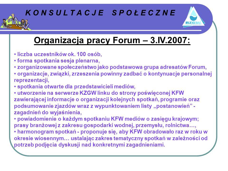 K O N S U L T A C J E S P O Ł E C Z N E Organizacja pracy Forum – 3.IV.2007: liczba uczestników ok.