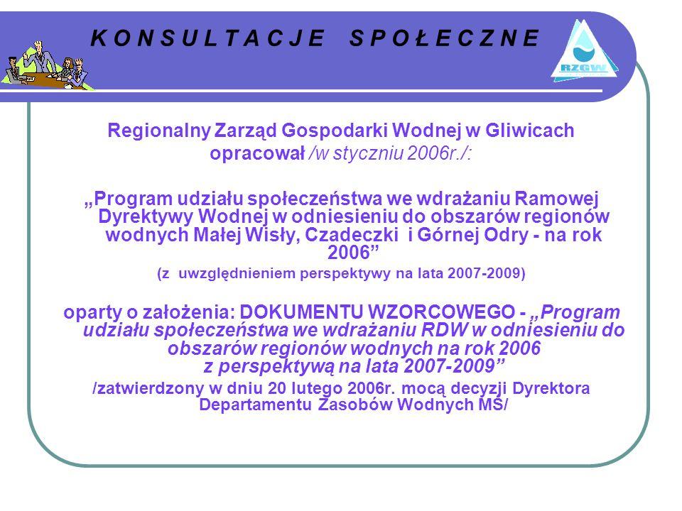 K O N S U L T A C J E S P O Ł E C Z N E Regionalny Zarząd Gospodarki Wodnej w Gliwicach opracował /w styczniu 2006r./: Program udziału społeczeństwa we wdrażaniu Ramowej Dyrektywy Wodnej w odniesieniu do obszarów regionów wodnych Małej Wisły, Czadeczki i Górnej Odry - na rok 2006 (z uwzględnieniem perspektywy na lata 2007-2009) oparty o założenia: DOKUMENTU WZORCOWEGO - Program udziału społeczeństwa we wdrażaniu RDW w odniesieniu do obszarów regionów wodnych na rok 2006 z perspektywą na lata 2007-2009 /zatwierdzony w dniu 20 lutego 2006r.