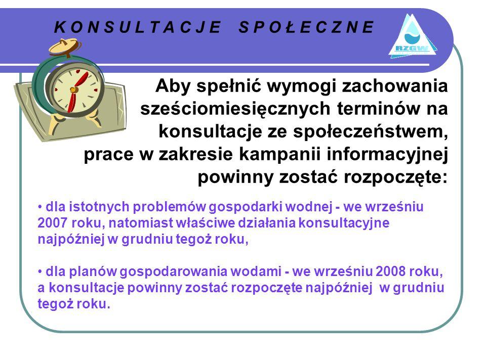 K O N S U L T A C J E S P O Ł E C Z N E Aby spełnić wymogi zachowania sześciomiesięcznych terminów na konsultacje ze społeczeństwem, prace w zakresie kampanii informacyjnej powinny zostać rozpoczęte: dla istotnych problemów gospodarki wodnej - we wrześniu 2007 roku, natomiast właściwe działania konsultacyjne najpóźniej w grudniu tegoż roku, dla planów gospodarowania wodami - we wrześniu 2008 roku, a konsultacje powinny zostać rozpoczęte najpóźniej w grudniu tegoż roku.