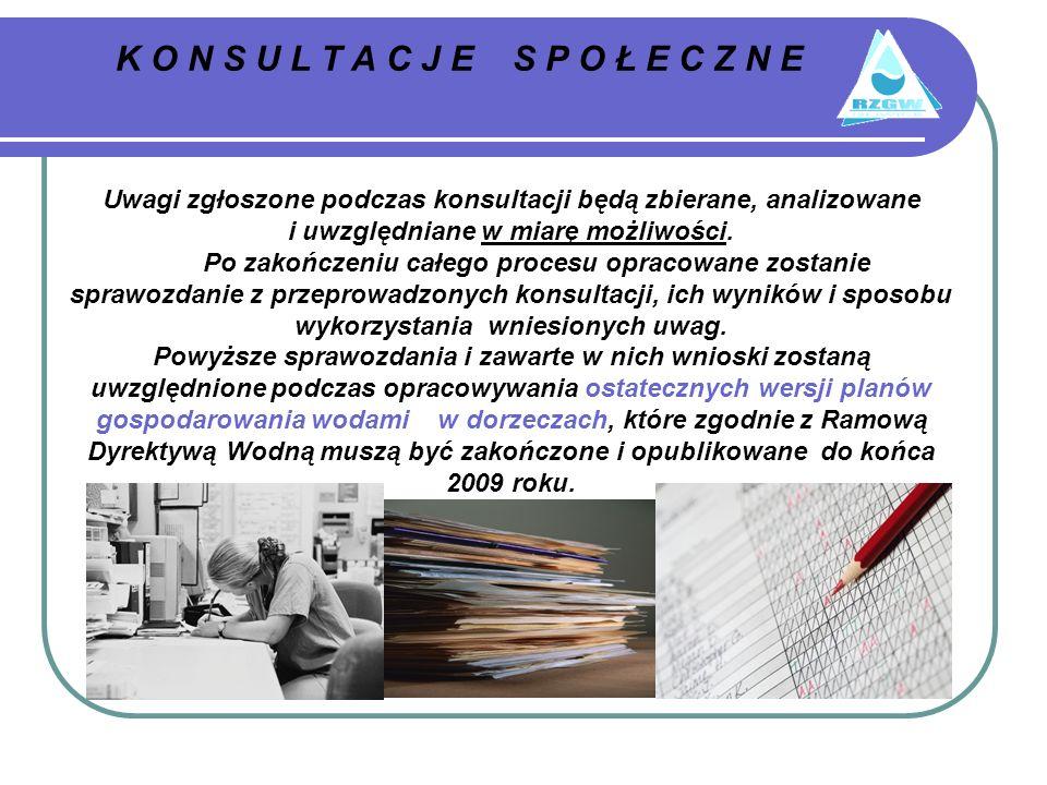 K O N S U L T A C J E S P O Ł E C Z N E Uwagi zgłoszone podczas konsultacji będą zbierane, analizowane i uwzględniane w miarę możliwości.
