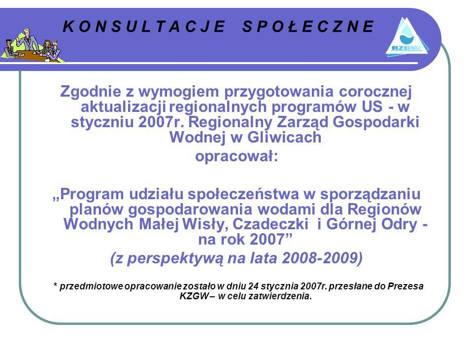 K O N S U L T A C J E S P O Ł E C Z N E Zgodnie z wymogiem przygotowania corocznej aktualizacji regionalnych programów US - w styczniu 2007r.