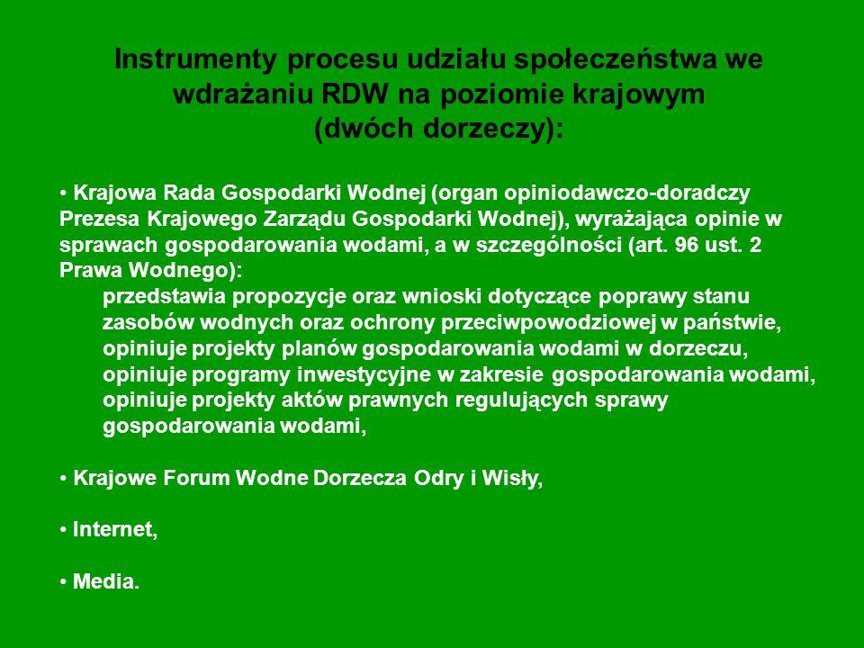 Instrumenty procesu udziału społeczeństwa we wdrażaniu RDW na poziomie krajowym (dwóch dorzeczy): Krajowa Rada Gospodarki Wodnej (organ opiniodawczo-d