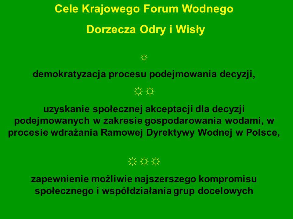 Cele Krajowego Forum Wodnego Dorzecza Odry i Wisły demokratyzacja procesu podejmowania decyzji, uzyskanie społecznej akceptacji dla decyzji podejmowan