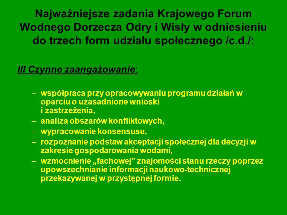 Najważniejsze zadania Krajowego Forum Wodnego Dorzecza Odry i Wisły w odniesieniu do trzech form udziału społecznego /c.d./: III Czynne zaangażowanie: