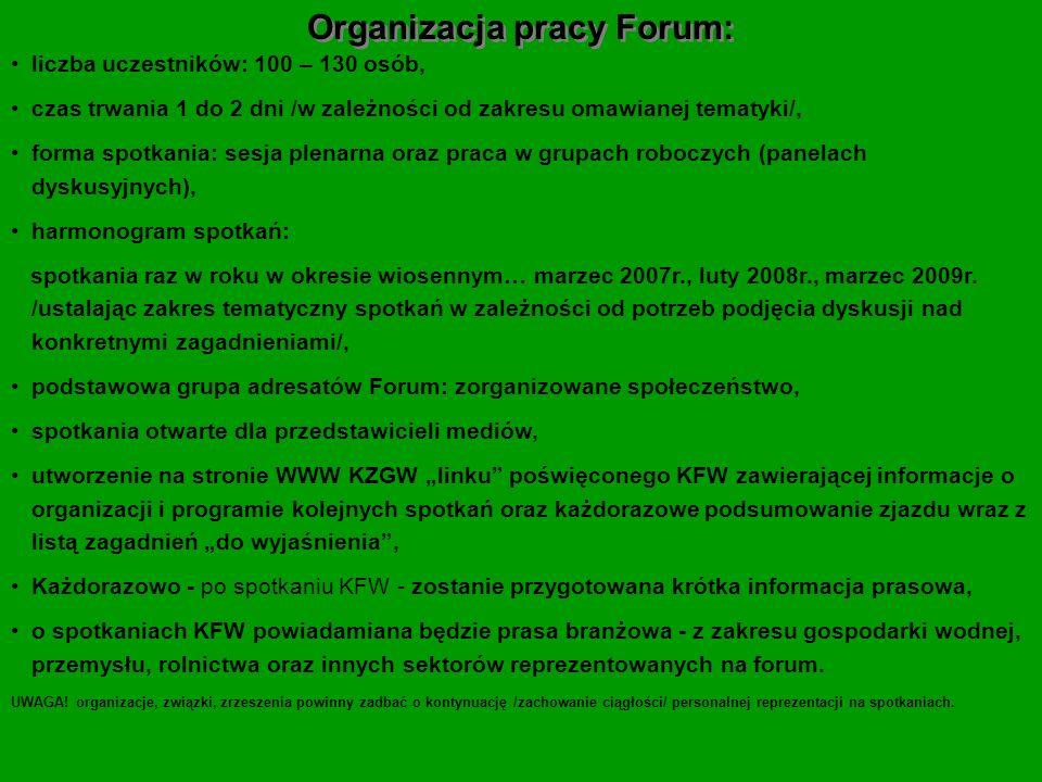 Organizacja pracy Forum: liczba uczestników: 100 – 130 osób, czas trwania 1 do 2 dni /w zależności od zakresu omawianej tematyki/, forma spotkania: se