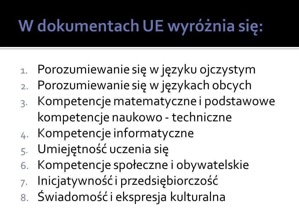 1. Porozumiewanie się w języku ojczystym 2. Porozumiewanie się w językach obcych 3.