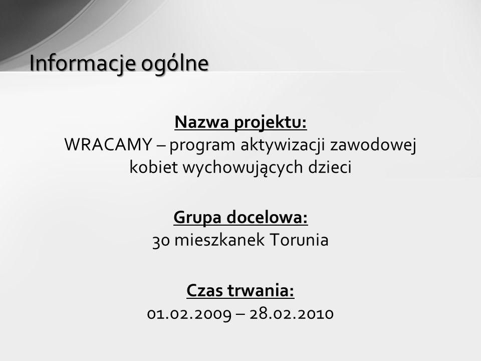 Nazwa projektu: WRACAMY – program aktywizacji zawodowej kobiet wychowujących dzieci Grupa docelowa: 30 mieszkanek Torunia Czas trwania: 01.02.2009 – 28.02.2010 Informacje ogólne