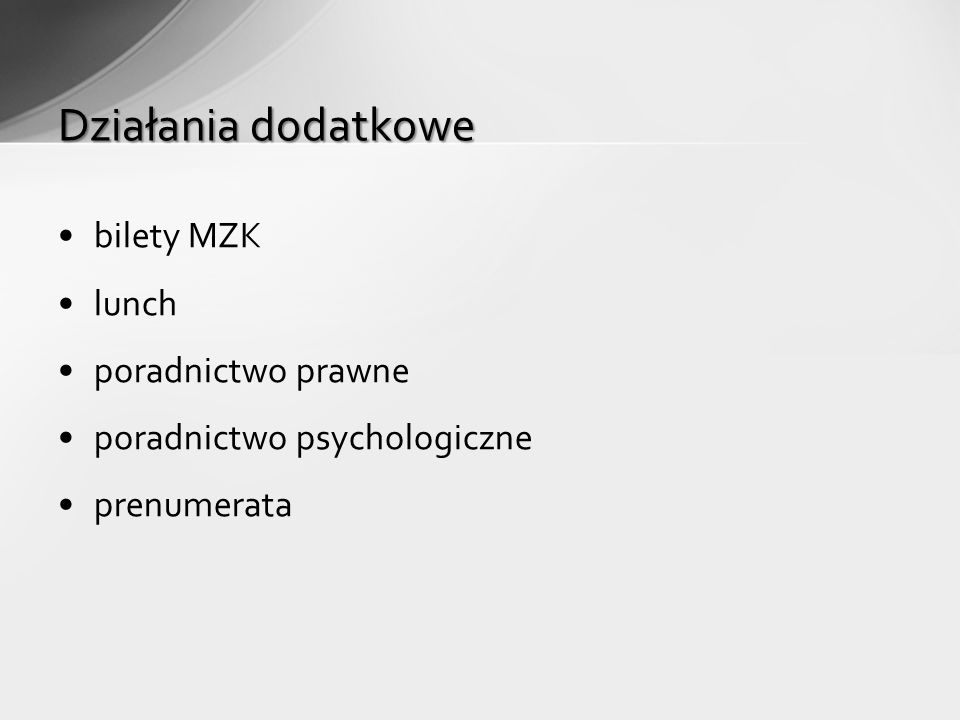 bilety MZK lunch poradnictwo prawne poradnictwo psychologiczne prenumerata Działania dodatkowe
