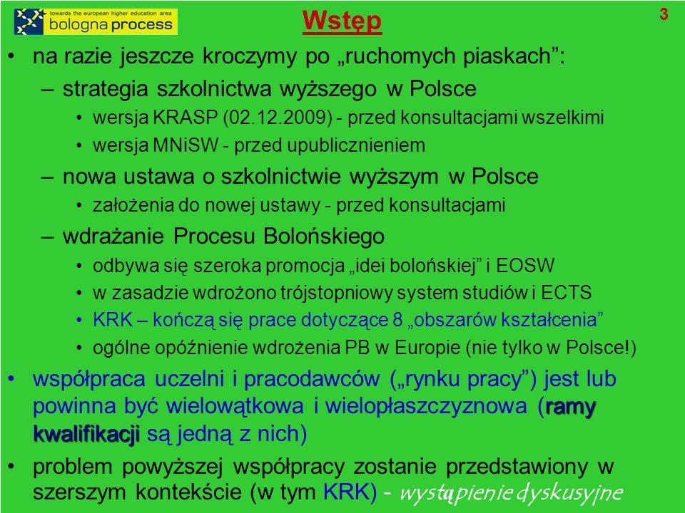 Wstęp na razie jeszcze kroczymy po ruchomych piaskach: –strategia szkolnictwa wyższego w Polsce wersja KRASP (02.12.2009) - przed konsultacjami wszelkimi wersja MNiSW - przed upublicznieniem –nowa ustawa o szkolnictwie wyższym w Polsce założenia do nowej ustawy - przed konsultacjami –wdrażanie Procesu Bolońskiego odbywa się szeroka promocja idei bolońskiej i EOSW w zasadzie wdrożono trójstopniowy system studiów i ECTS KRK – kończą się prace dotyczące 8 obszarów kształcenia ogólne opóźnienie wdrożenia PB w Europie (nie tylko w Polsce!) ramy kwalifikacjiwspółpraca uczelni i pracodawców (rynku pracy) jest lub powinna być wielowątkowa i wielopłaszczyznowa (ramy kwalifikacji są jedną z nich) problem powyższej współpracy zostanie przedstawiony w szerszym kontekście (w tym KRK) - wyst ą pienie dyskusyjne 3