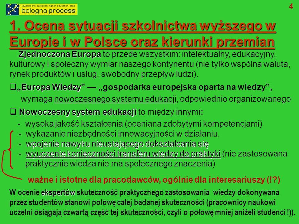 1. Ocena sytuacji szkolnictwa wyższego w Europie i w Polsce oraz kierunki przemian Zjednoczona Europa Zjednoczona Europa to przede wszystkim: intelekt