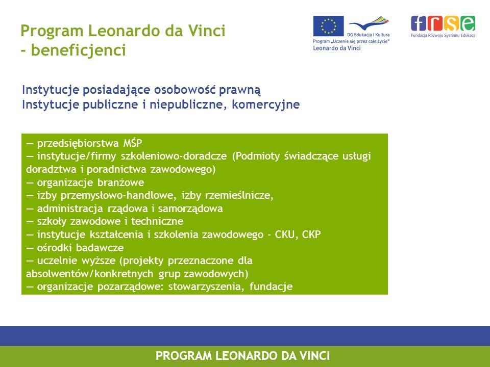 PROGRAM LEONARDO DA VINCI Program Leonardo da Vinci - beneficjenci Instytucje posiadające osobowość prawną Instytucje publiczne i niepubliczne, komerc