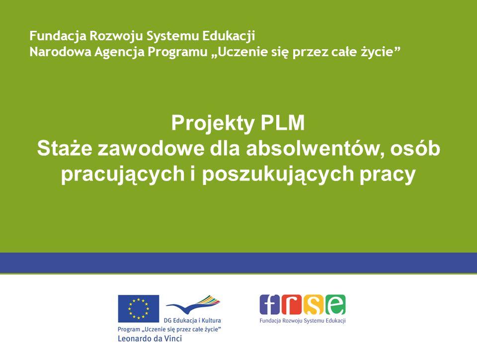 Projekty PLM Staże zawodowe dla absolwentów, osób pracujących i poszukujących pracy Fundacja Rozwoju Systemu Edukacji Narodowa Agencja Programu Uczeni