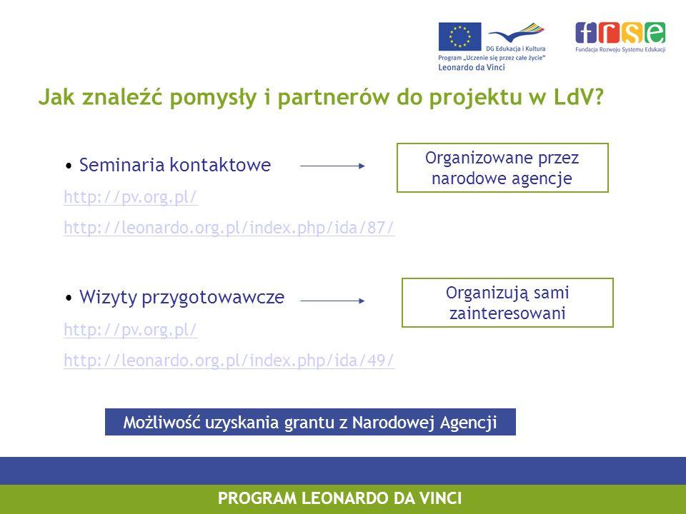 PROGRAM LEONARDO DA VINCI Jak znaleźć pomysły i partnerów do projektu w LdV? Seminaria kontaktowe http://pv.org.pl/ http://leonardo.org.pl/index.php/i