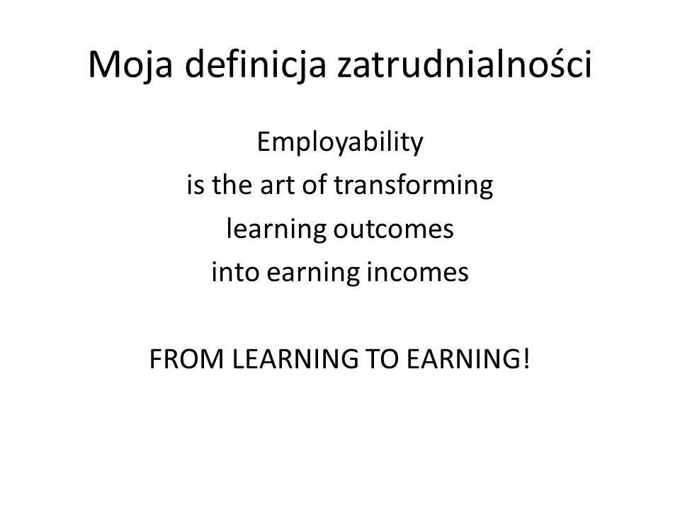 Moja definicja zatrudnialności Employability is the art of transforming learning outcomes into earning incomes FROM LEARNING TO EARNING!