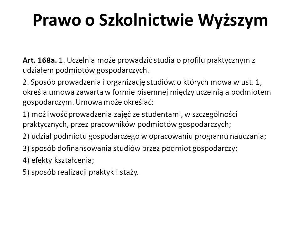 Prawo o Szkolnictwie Wyższym Art. 168a. 1. Uczelnia może prowadzić studia o profilu praktycznym z udziałem podmiotów gospodarczych. 2. Sposób prowadze
