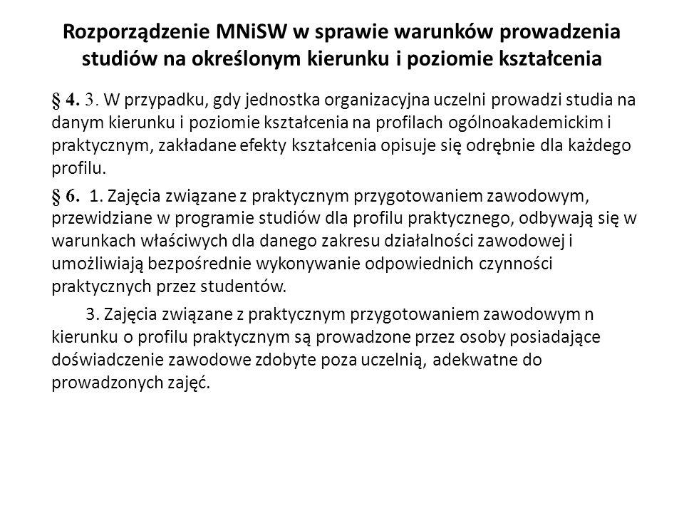 Rozporządzenie MNiSW w sprawie warunków prowadzenia studiów na określonym kierunku i poziomie kształcenia § 4. 3. W przypadku, gdy jednostka organizac