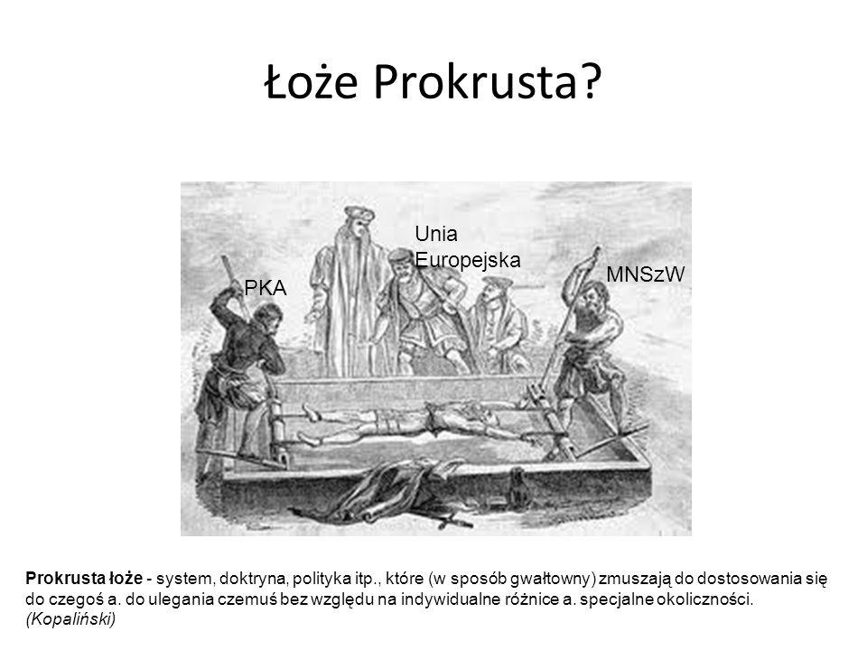 Łoże Prokrusta? Unia Europejska MNSzW PKA Prokrusta łoże - system, doktryna, polityka itp., które (w sposób gwałtowny) zmuszają do dostosowania się do