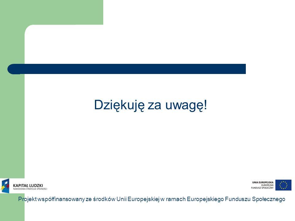Dziękuję za uwagę! Projekt współfinansowany ze środków Unii Europejskiej w ramach Europejskiego Funduszu Społecznego