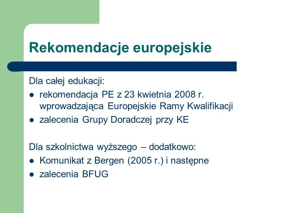 Ramy Kwalifikacji PL – stan prac Dla całego sytemu edukacji: I etap (projekt ekspercki KRK) – MEN, 2008-2009 II etap (konsultacje, wdrożenie) – IBE, do 2013 roku Powołanie ciał odpowiedzialnych za wdrożenie LLL i Krajowych Ram Kwalifikacji – koordynacja ponadsektorowa (luty 2010) Ustawa o KRK, rejestr kwalifikacji i raport referencyjny – 2013 (?) Dla szkolnictwa wyższego Wdrożenie sektorowe: nowelizacja Ustawy PSW z 18 marca 2011 Wprowadzenie Ustawy wraz z pakietem aktów wykonawczych: 1 października 2011 – Trwają konsultacje dotyczące rozporządzeń Obowiązywanie: nabór studentów po 1 października 2011 PKA: 3 lata na zmianę modelu akredytacji