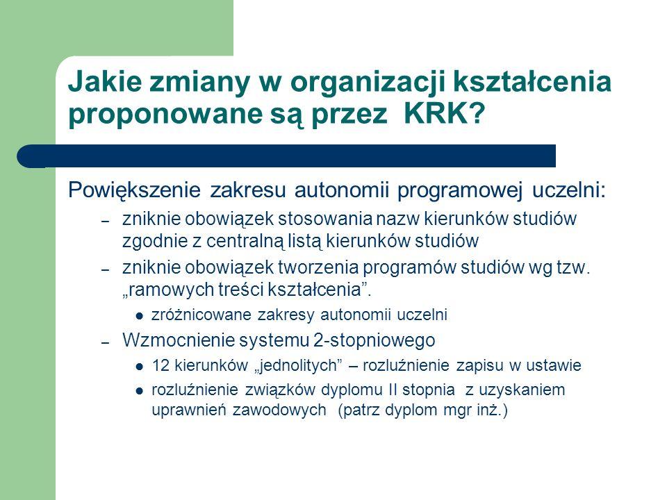 Jakie zmiany w organizacji kształcenia proponowane są przez KRK? Powiększenie zakresu autonomii programowej uczelni: – zniknie obowiązek stosowania na