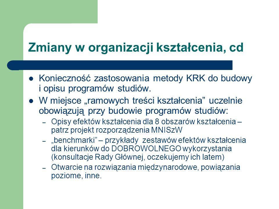 Zmiany w organizacji kształcenia, cd Konieczność zastosowania metody KRK do budowy i opisu programów studiów. W miejsce ramowych treści kształcenia uc