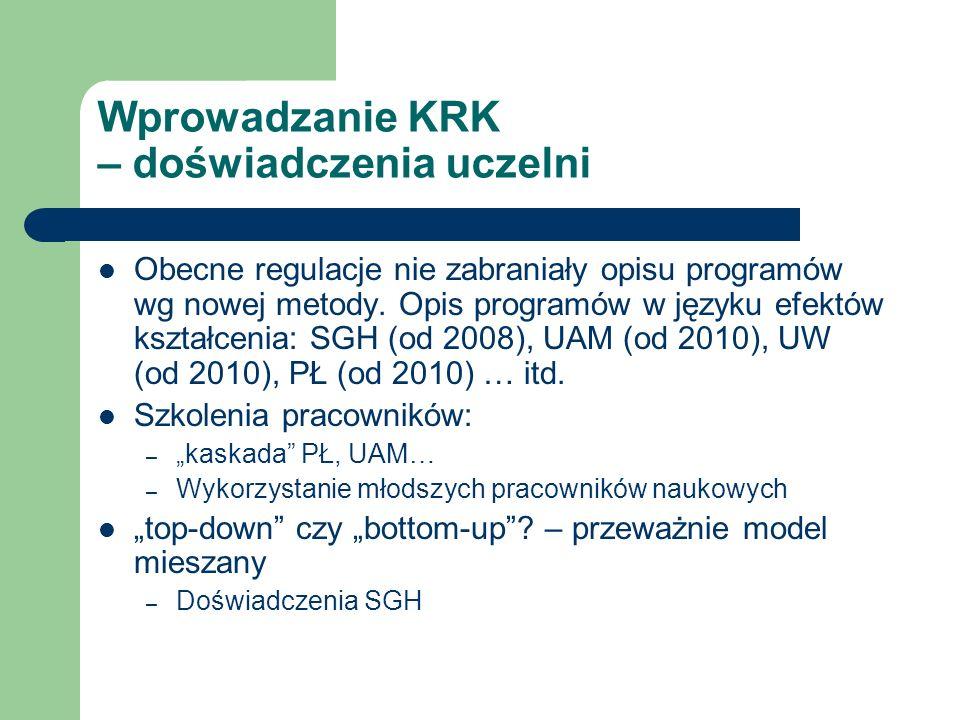 Wprowadzanie KRK – doświadczenia uczelni Obecne regulacje nie zabraniały opisu programów wg nowej metody. Opis programów w języku efektów kształcenia:
