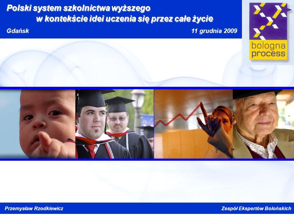 Kliknij, aby edytować styl wzorca tytułu Kliknij, aby edytować style wzorca tekstu Drugi poziom Trzeci poziom Czwarty poziom Piąty poziom Polski system szkolnictwa wyższego w kontekście idei uczenia się przez całe życi e Gdańsk 11 grudnia 2009 Przemysław Rzodkiewicz Zespół Ekspertów Bolońskich
