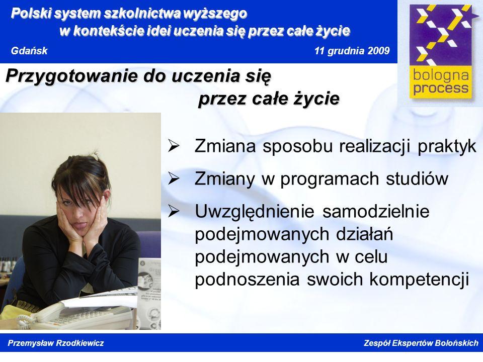 Kliknij, aby edytować styl wzorca tytułu Kliknij, aby edytować style wzorca tekstu Drugi poziom Trzeci poziom Czwarty poziom Piąty poziom Polski system szkolnictwa wyższego w kontekście idei uczenia się przez całe życi e Gdańsk 11 grudnia 2009 Przemysław Rzodkiewicz Zespół Ekspertów Bolońskich Przygotowanie do uczenia się przez całe życie Zmiana sposobu realizacji praktyk Zmiany w programach studiów Uwzględnienie samodzielnie podejmowanych działań podejmowanych w celu podnoszenia swoich kompetencji