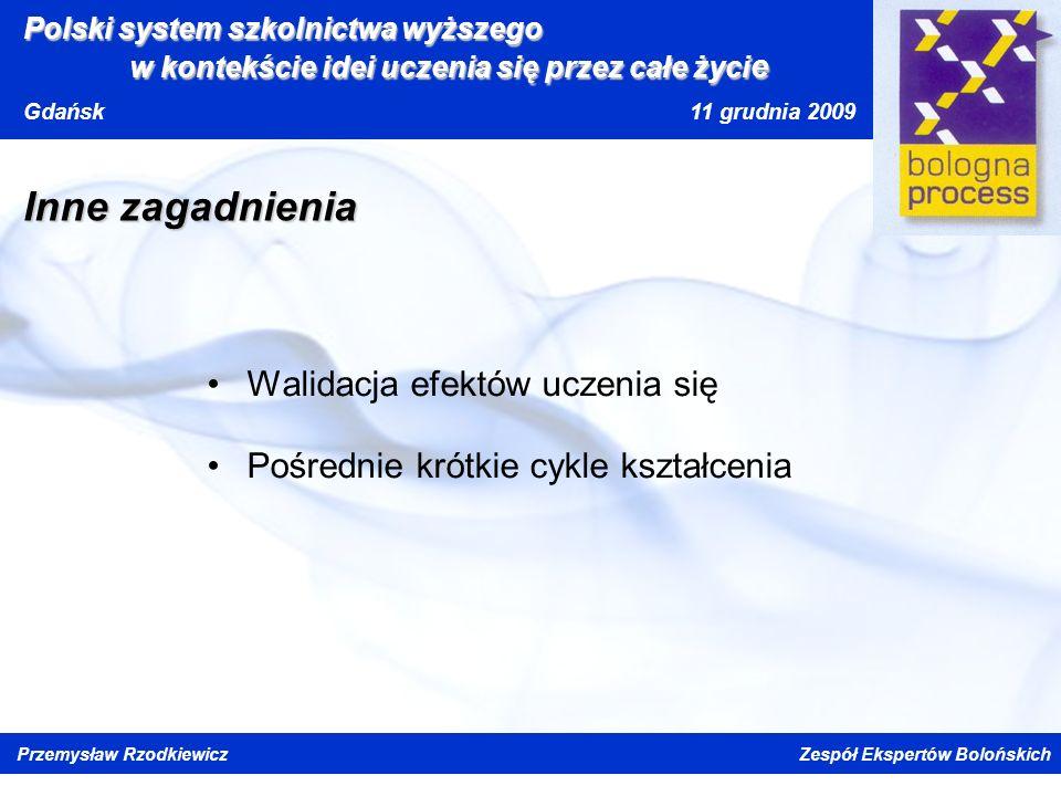Kliknij, aby edytować styl wzorca tytułu Kliknij, aby edytować style wzorca tekstu Drugi poziom Trzeci poziom Czwarty poziom Piąty poziom Polski system szkolnictwa wyższego w kontekście idei uczenia się przez całe życi e Gdańsk 11 grudnia 2009 Przemysław Rzodkiewicz Zespół Ekspertów Bolońskich Inne zagadnienia Walidacja efektów uczenia się Pośrednie krótkie cykle kształcenia