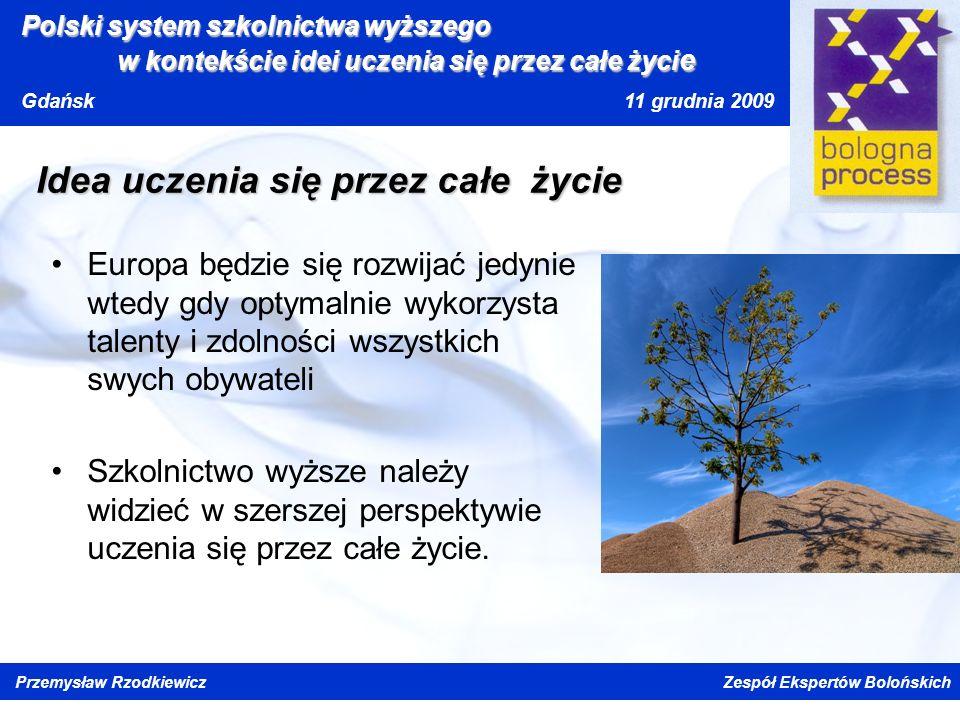 Kliknij, aby edytować styl wzorca tytułu Kliknij, aby edytować style wzorca tekstu Drugi poziom Trzeci poziom Czwarty poziom Piąty poziom Polski system szkolnictwa wyższego w kontekście idei uczenia się przez całe życi e Gdańsk 11 grudnia 2009 Przemysław Rzodkiewicz Zespół Ekspertów Bolońskich Idea uczenia się przez całe życie Europa będzie się rozwijać jedynie wtedy gdy optymalnie wykorzysta talenty i zdolności wszystkich swych obywateli Szkolnictwo wyższe należy widzieć w szerszej perspektywie uczenia się przez całe życie.