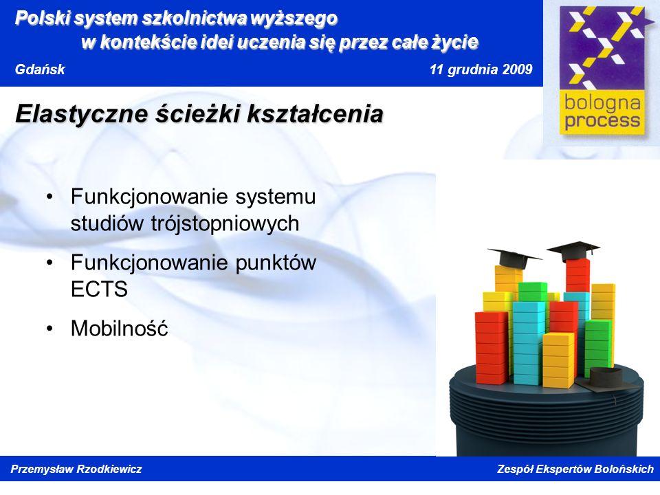 Kliknij, aby edytować styl wzorca tytułu Kliknij, aby edytować style wzorca tekstu Drugi poziom Trzeci poziom Czwarty poziom Piąty poziom Polski system szkolnictwa wyższego w kontekście idei uczenia się przez całe życi e Gdańsk 11 grudnia 2009 Przemysław Rzodkiewicz Zespół Ekspertów Bolońskich Elastyczne ścieżki kształcenia Funkcjonowanie systemu studiów trójstopniowych Funkcjonowanie punktów ECTS Mobilność