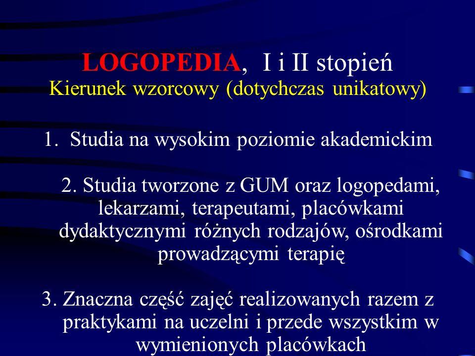 LOGOPEDIA, I i II stopień Kierunek wzorcowy (dotychczas unikatowy) 1.Studia na wysokim poziomie akademickim 2. Studia tworzone z GUM oraz logopedami,