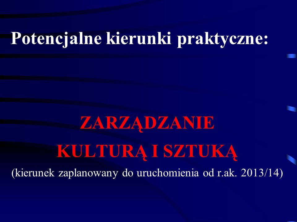 Potencjalne kierunki praktyczne: ZARZĄDZANIE KULTURĄ I SZTUKĄ (kierunek zaplanowany do uruchomienia od r.ak. 2013/14)