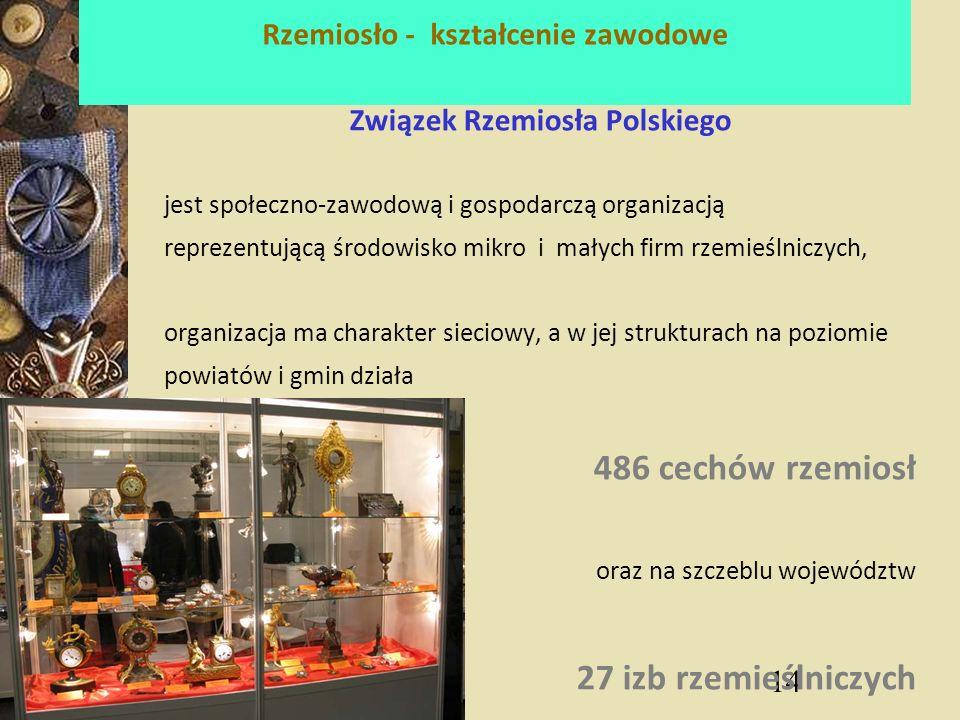 14 Rzemiosło - kształcenie zawodowe Związek Rzemiosła Polskiego jest społeczno-zawodową i gospodarczą organizacją reprezentującą środowisko mikro i małych firm rzemieślniczych, organizacja ma charakter sieciowy, a w jej strukturach na poziomie powiatów i gmin działa 486 cechów rzemiosł oraz na szczeblu województw 27 izb rzemieślniczych
