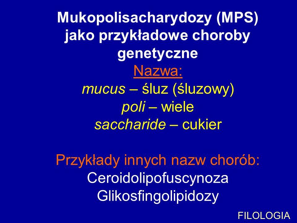 Mukopolisacharydozy (MPS) jako przykładowe choroby genetyczne Nazwa: mucus – śluz (śluzowy) poli – wiele saccharide – cukier Przykłady innych nazw cho
