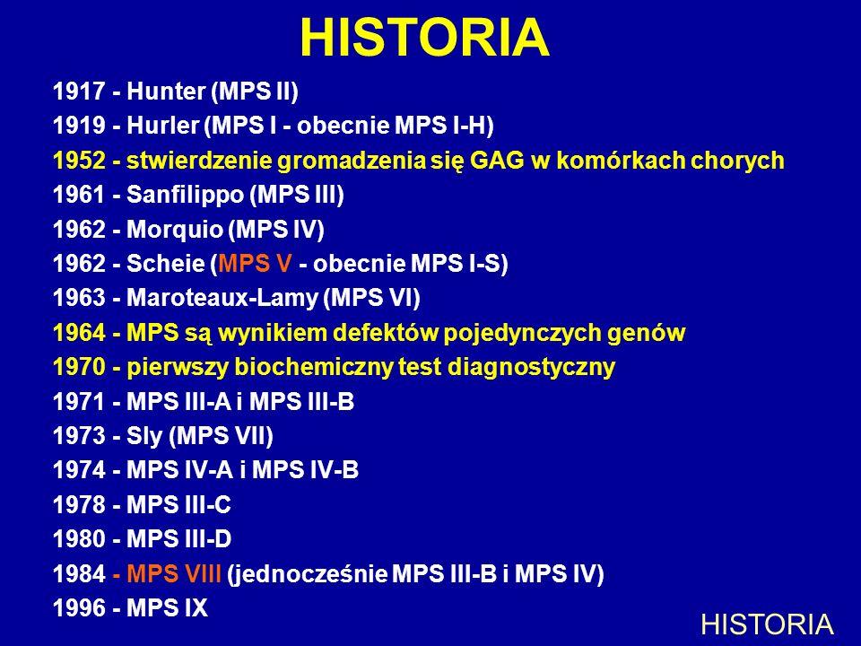 HISTORIA 1917 - Hunter (MPS II) 1919 - Hurler (MPS I - obecnie MPS I-H) 1952 - stwierdzenie gromadzenia się GAG w komórkach chorych 1961 - Sanfilippo