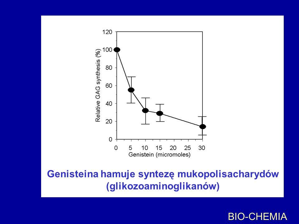 Genisteina hamuje syntezę mukopolisacharydów (glikozoaminoglikanów) BIO-CHEMIA