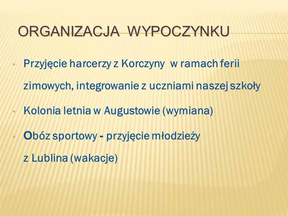ORGANIZACJA WYPOCZYNKU Przyjęcie harcerzy z Korczyny w ramach ferii zimowych, integrowanie z uczniami naszej szkoły Kolonia letnia w Augustowie (wymiana) O bóz sportowy - przyjęcie młodzieży z Lublina (wakacje)