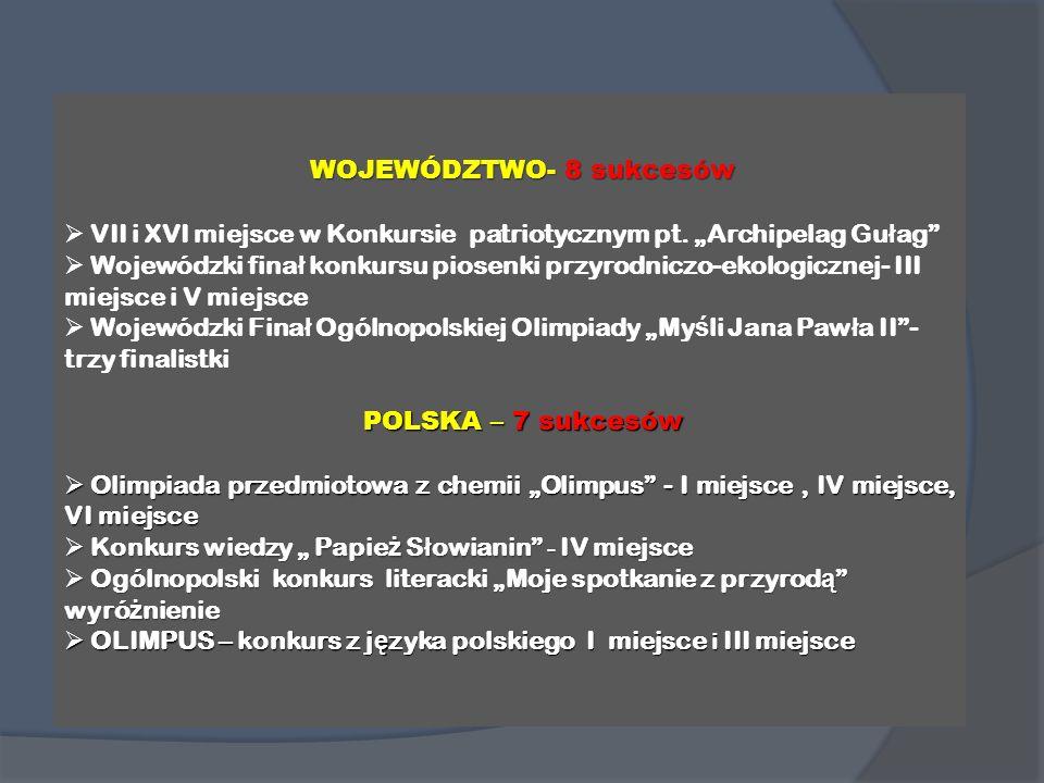WOJEWÓDZTWO-8 sukcesów WOJEWÓDZTWO- 8 sukcesów VII i XVI miejsce w Konkursie patriotycznym pt. Archipelag Gu ł ag Wojewódzki fina ł konkursu piosenki